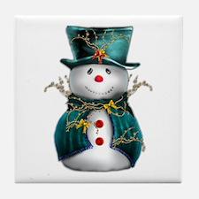 Cute Snowman in Green Velvet Tile Coaster
