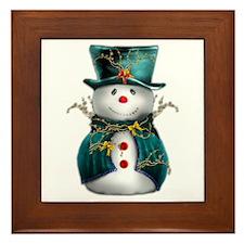 Cute Snowman in Green Velvet Framed Tile