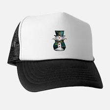 Cute Snowman in Green Velvet Trucker Hat