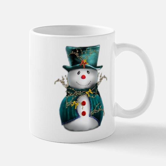 Cute Snowman in Green Velvet Mug