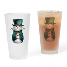 Cute Snowman in Green Velvet Drinking Glass