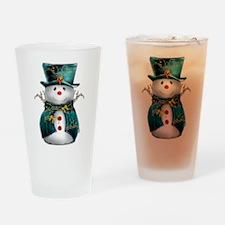 Cute Snowman in Green Velvet Drinking Glass
