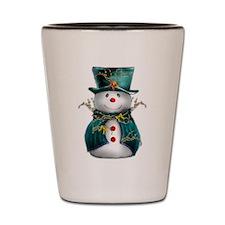 Cute Snowman in Green Velvet Shot Glass