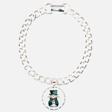 Cute Snowman in Green Velvet Bracelet