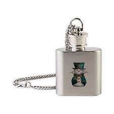 Cute Snowman in Green Velvet Flask Necklace