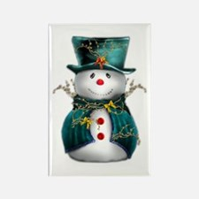Cute Snowman in Green Velvet Rectangle Magnet