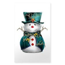 Cute Snowman in Green Velvet Decal