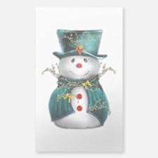 Cute Snowman in Green Velvet Decal