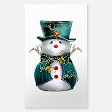 Cute Snowman in Green Velvet Sticker (Rectangle)