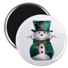 Cute Snowman in Green Velvet Magnet
