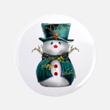 """Cute Snowman in Green Velvet 3.5"""" Button (100 pack"""