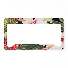 Black Hibiscus Aloha Shirt - License Plate Holder