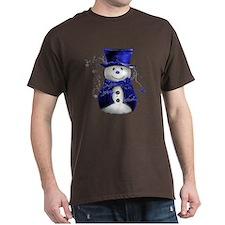 Cute Snowman in Blue Velvet T-Shirt