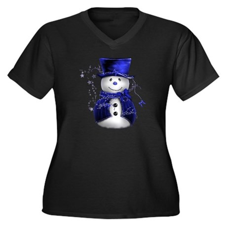 Cute Snowman in Blue Velvet Women's Plus Size V-Ne