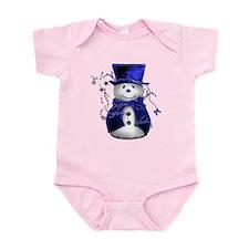 Cute Snowman in Blue Velvet Infant Bodysuit