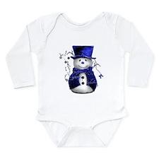 Cute Snowman in Blue Velvet Long Sleeve Infant Bod