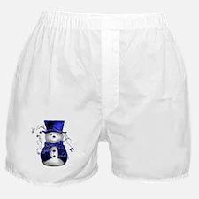 Cute Snowman in Blue Velvet Boxer Shorts