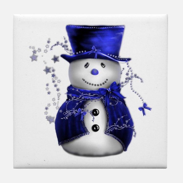 Cute Snowman in Blue Velvet Tile Coaster