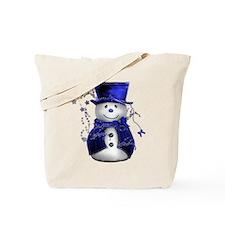 Cute Snowman in Blue Velvet Tote Bag