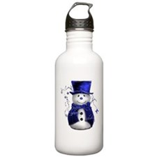 Cute Snowman in Blue Velvet Water Bottle