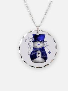Cute Snowman in Blue Velvet Necklace