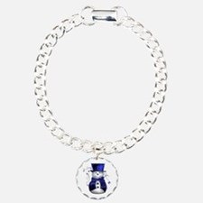 Cute Snowman in Blue Velvet Bracelet