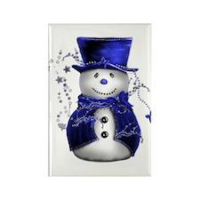 Cute Snowman in Blue Velvet Rectangle Magnet