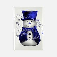 Cute Snowman in Blue Velvet Rectangle Magnet (10 p