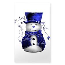 Cute Snowman in Blue Velvet Sticker (Rectangle)