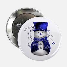 "Cute Snowman in Blue Velvet 2.25"" Button (100 pack"