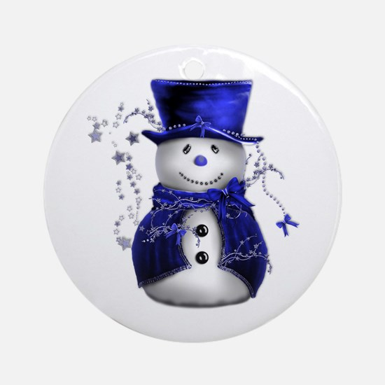 Cute Snowman in Blue Velvet Ornament (Round)
