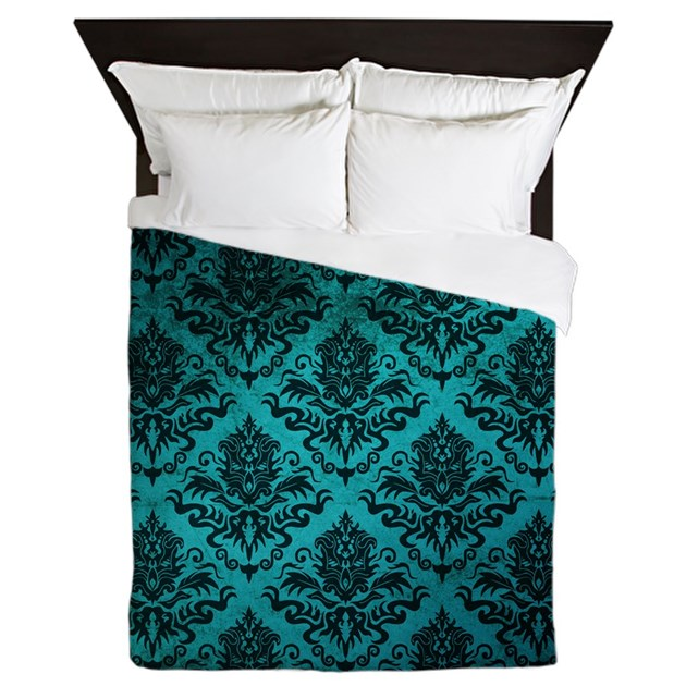 Cafe Au Lait Bedroom With Damask Wallpaper: Turquoise Damask Square Queen Duvet By Megannoble