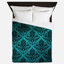 Turquoise Damask Square Queen Duvet