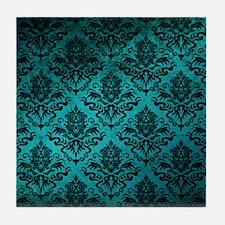 Turquoise Damask Square Tile Coaster