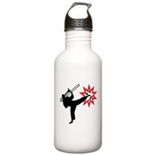 Karate and Music together in one image! Sports Water Bottle