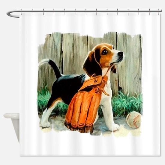 Beagle & Baseball 2 Shower Curtain