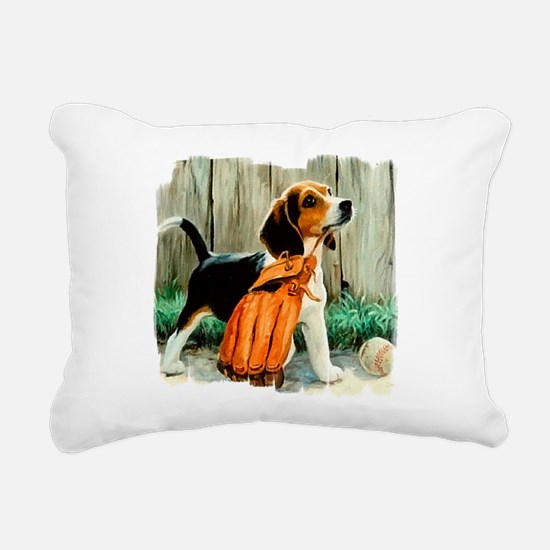 Beagle & Baseball 2 Rectangular Canvas Pillow