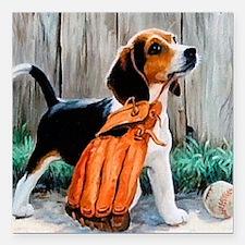 "Beagle & Baseball 2 Square Car Magnet 3"" x 3"""