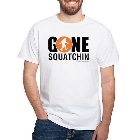 Gone Squatchin Black/Orange Logo Mens Shirt White