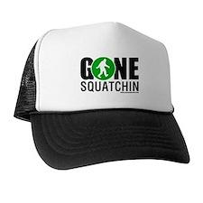Gone Squatchin Black/Green Logo Trucker Hat/Cap