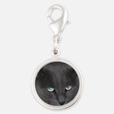 Unique Cat w/ Cool Eyes Silver Round Charm