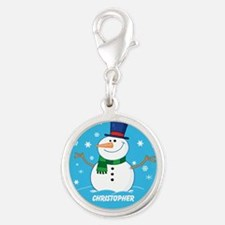 Cute Personalized Snowman Xmas gift Silver Round C