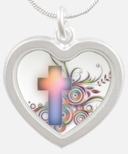 Colorful Cross Silver Heart Necklace