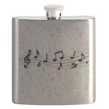 Designer Musical Notes in black and grey Flask