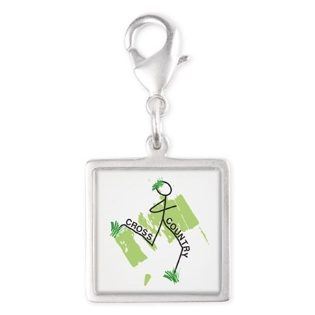 Cute Cross Country Runner Silver Square Charm