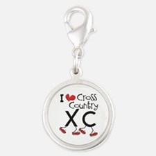 I heart Cross Country Running Silver Round Charm