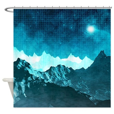 Outer Space Mountains Shower Curtain By Perkinsdesigns