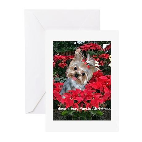 Yorkshire Terrier Yorkie Christmas Card Art Greeti