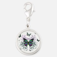 MultiColor Butterfly Silver Round Charm