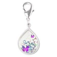 Bright Purple Butterflies Silver Teardrop Charm